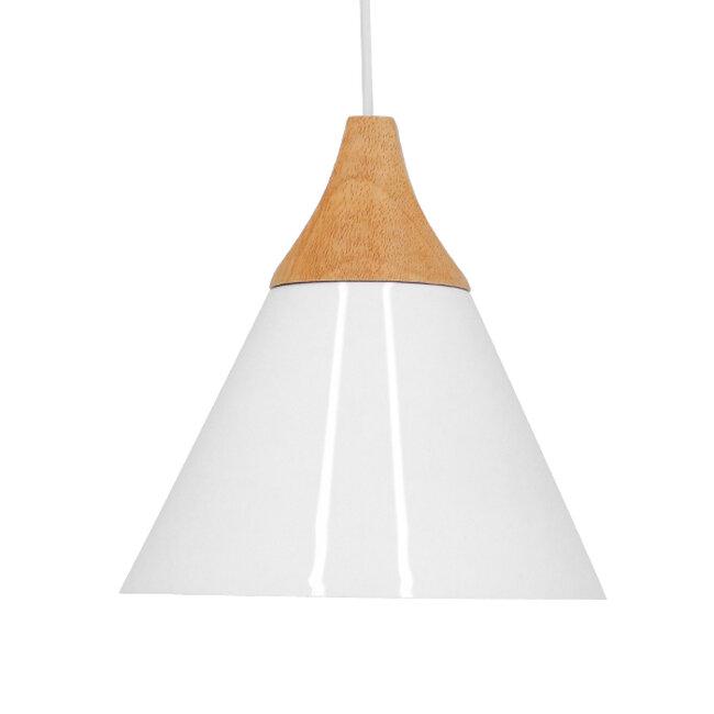 Μοντέρνο Κρεμαστό Φωτιστικό Οροφής Μονόφωτο Λευκό Μεταλλικό με Ξύλο Καμπάνα Φ23  SHADE WHITE 00907 - 3