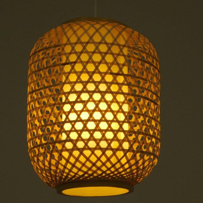 Vintage Κρεμαστό Φωτιστικό Οροφής Μονόφωτο Καφέ Ξύλινο Bamboo Φ30  MAURITIUS Φ30 00899 - 3