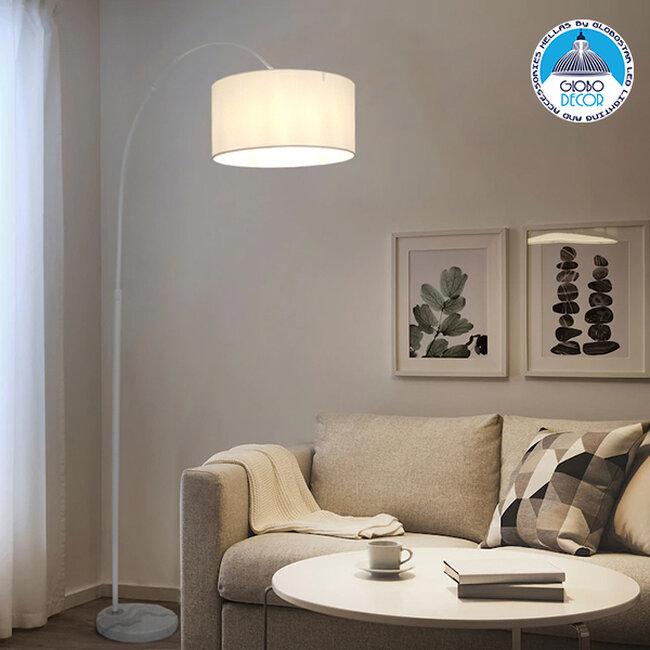 Μοντέρνο Φωτιστικό Δαπέδου Μονόφωτο Μεταλλικό Λευκό με Καπέλο Φ34  IMPERIAL WHITE 01588 - 2