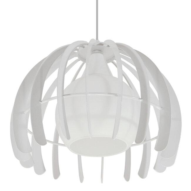 Μοντέρνο Κρεμαστό Φωτιστικό Οροφής Μονόφωτο Λευκό Μεταλλικό Πλέγμα με Λευκό Γυαλί Φ26  STEPHEN 01225 - 6