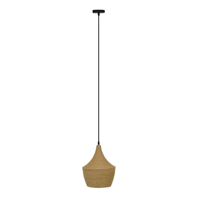 Vintage Κρεμαστό Φωτιστικό Οροφής Μονόφωτο με Μπεζ Σχοινί Καμπάνα  BEIJING Φ24 00916 - 3