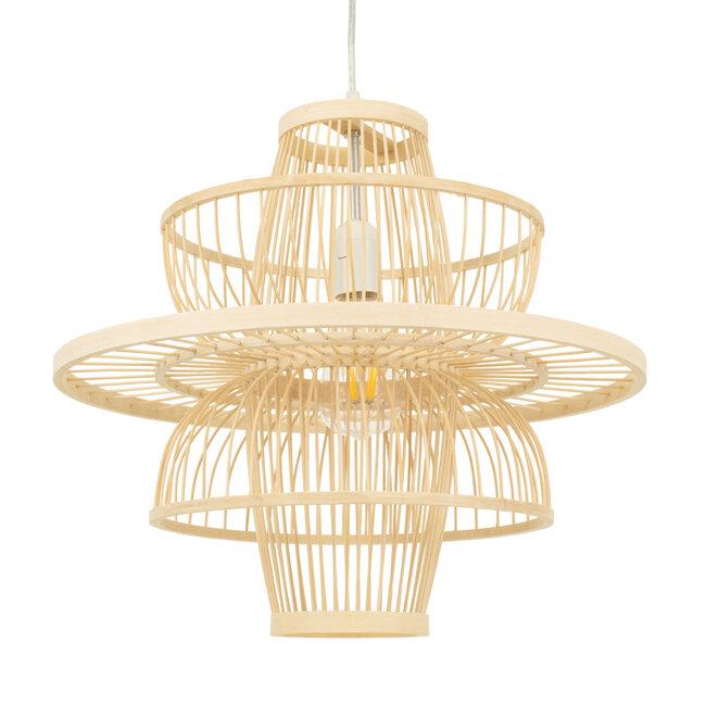 BALI 00861 Vintage Κρεμαστό Φωτιστικό Οροφής Μονόφωτο Μπεζ Ξύλινο Bamboo Φ45 x Y42.5cm - 2