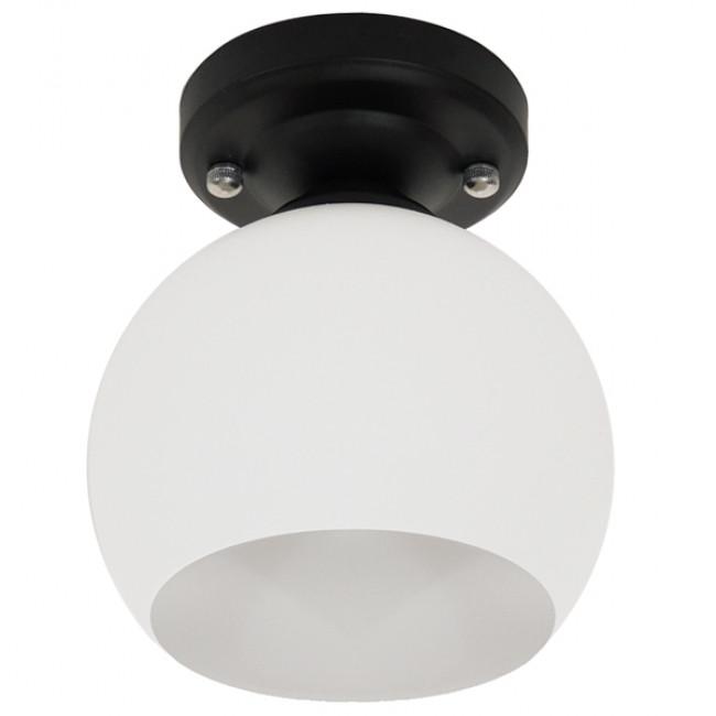 Μοντέρνο Φωτιστικό Οροφής Μονόφωτο Μαύρο με Λευκό Ματ Γυαλί Καμπάνα Φ13 GloboStar MAURA 01318 - 2