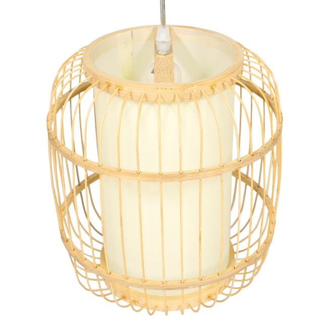 GloboStar® DE PARIS 01633 Vintage Κρεμαστό Φωτιστικό Οροφής Μονόφωτο Μπεζ Ξύλινο Bamboo Φ26 x Y32cm - 6