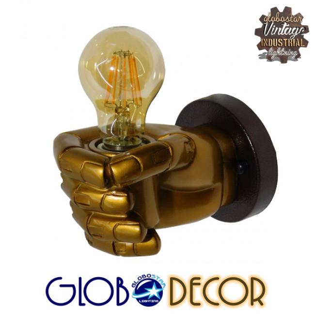 Μοντέρνο Φωτιστικό Τοίχου Απλίκα Μονόφωτο Χρυσό Γύψινο GloboStar FIST GOLD 01138 - 3