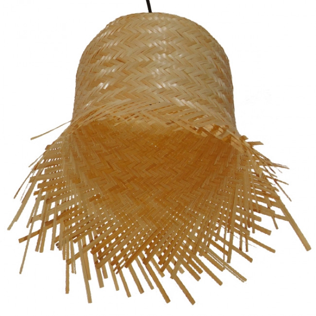 Vintage Κρεμαστό Φωτιστικό Οροφής Μονόφωτο Μπέζ Ξύλινο Ψάθινο Rattan Φ28 GloboStar LΕΕGAR 01201 - 4