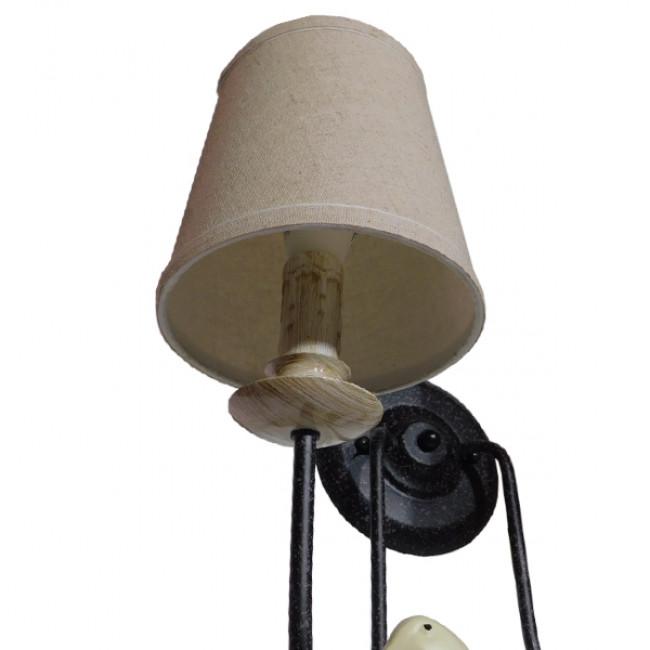 Vintage Φωτιστικό Τοίχου Απλίκα Δίφωτο Μαύρο Μεταλλικό με Μπεζ Υφασμάτινο Καπέλο GloboStar DOVE 01086 - 9