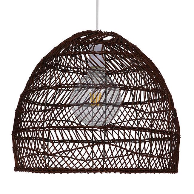 Vintage Κρεμαστό Φωτιστικό Οροφής Μονόφωτο Καφέ Σκούρο Ξύλινο Bamboo Φ40  COMORES DARK BROWN 00970 - 4