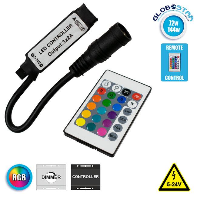 Ασύρματος LED RGB Controller με Χειριστήριο IR 5v (30w) 12v (72w) 24v (144w) GloboStar 73402 - 1