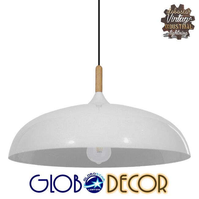 Μοντέρνο Κρεμαστό Φωτιστικό Οροφής Μονόφωτο Λευκό Μεταλλικό Καμπάνα Φ60  VALLETE WHITE 01257 - 1