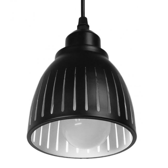 Μοντέρνο Κρεμαστό Φωτιστικό Οροφής Μονόφωτο Μεταλλικό Μαύρο Λευκό Καμπάνα Φ13 GloboStar CHERITH 01478 - 5