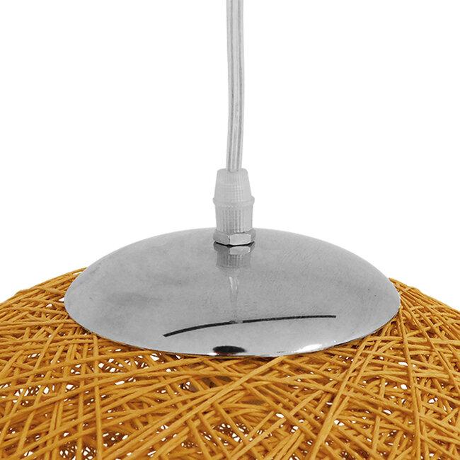 Vintage Κρεμαστό Φωτιστικό Οροφής Μονόφωτο Μπεζ Χρυσό Ξύλινο Ψάθινο Rattan Φ60  LOFT 01361 - 6