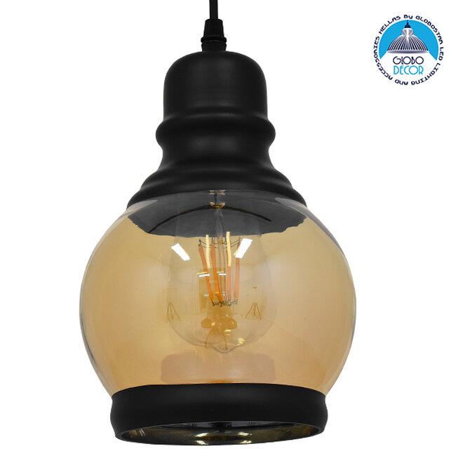 Vintage Κρεμαστό Φωτιστικό Οροφής Μονόφωτο Μαύρο Γυάλινο Μελί Διάφανο Φ16  OLIVER 01505 - 1