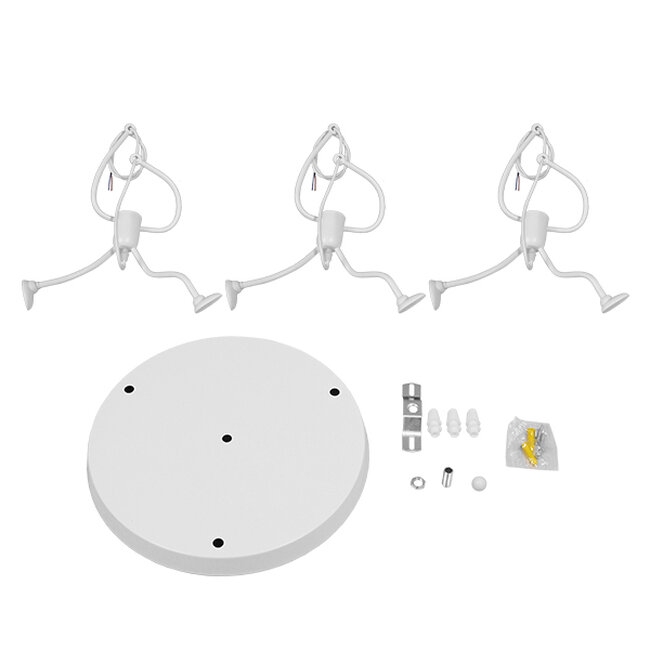 SET Μοντέρνο Κρεμαστό Φωτιστικό Οροφής Τρίφωτο Λευκό Μεταλλικό Φ45  LITTLE MAN WHITE 01654 - 7