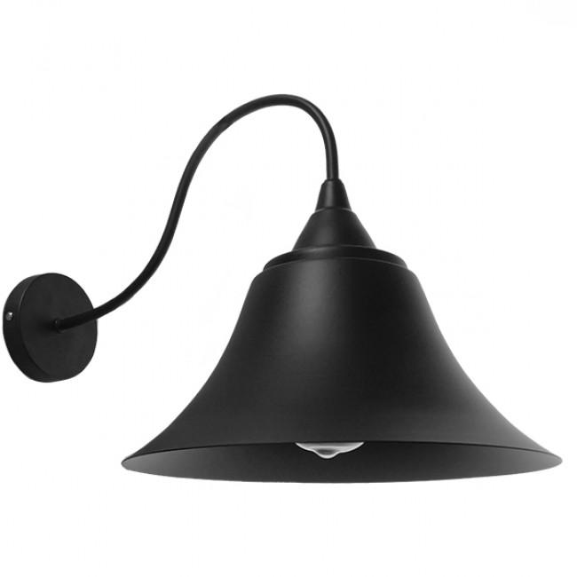 Vintage Industrial Φωτιστικό Τοίχου Απλίκα Μονόφωτο Μαύρο Καμπάνα Φ30  BELL 01038 - 1