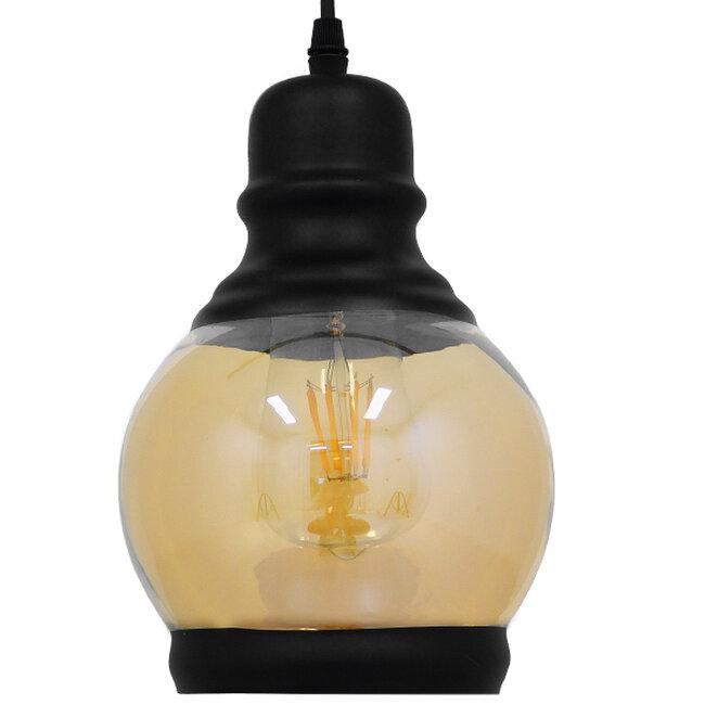 Vintage Κρεμαστό Φωτιστικό Οροφής Μονόφωτο Μαύρο Γυάλινο Μελί Διάφανο Φ16  OLIVER 01505 - 5