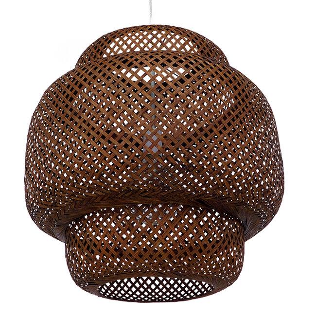 Vintage Κρεμαστό Φωτιστικό Οροφής Μονόφωτο Καφέ Σκούρο Ξύλινο Bamboo Φ56  MALVIDES DARK BROWN 01658 - 6