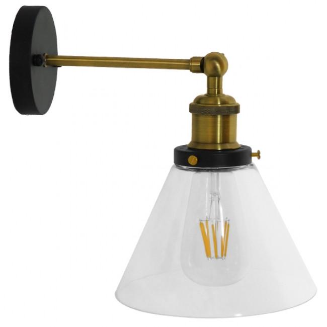 Vintage Φωτιστικό Τοίχου Απλίκα Μονόφωτο Χρυσό Μεταλλικό με Γυάλινη Καμπάνα Φ18 Globostar CATHERINE 01074 - 4