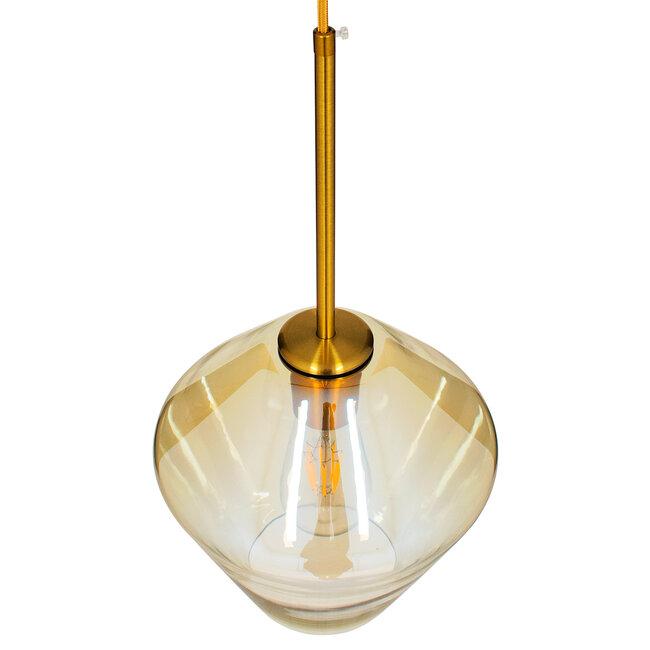 GloboStar® AMARIS 00869 Μοντέρνο Κρεμαστό Φωτιστικό Οροφής Μονόφωτο Γυάλινο Φιμέ Μελί Φ22 x 22CM - 6