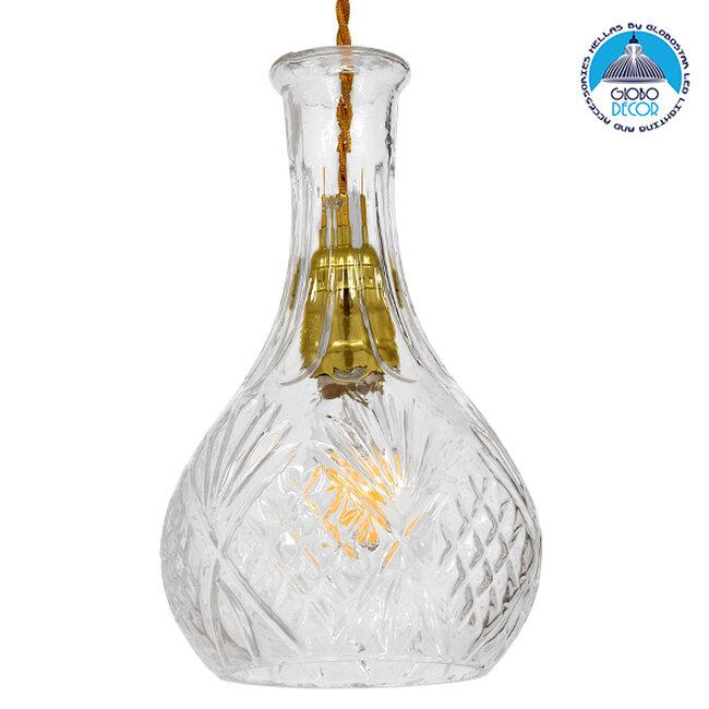 Vintage Κρεμαστό Φωτιστικό Οροφής Μονόφωτο Γυάλινο Διάφανο Φ14  RUM 01514 - 1