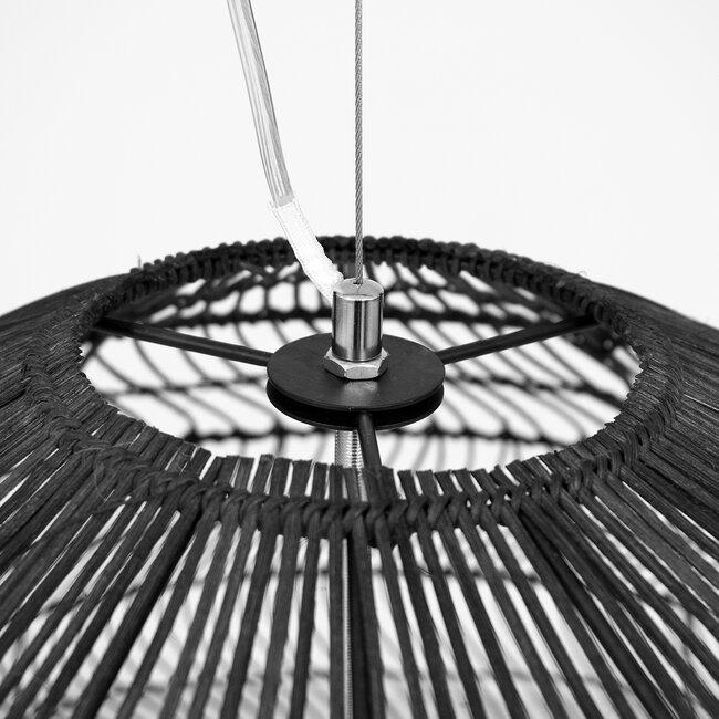 GloboStar® MALIBU 00966 Vintage Κρεμαστό Φωτιστικό Οροφής Μονόφωτο Μαύρο Ξύλινο Bamboo Φ97 x Y86cm - 6