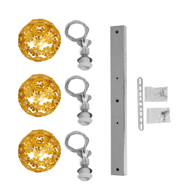 Μοντέρνο Κρεμαστό Φωτιστικό Οροφής Τρίφωτο Χρυσό Μεταλλικό με Κρύσταλλα GloboStar MARGARO 01671 - 9