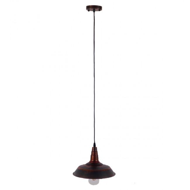 Vintage Industrial Κρεμαστό Φωτιστικό Οροφής Μονόφωτο Καφέ Σκουριά Μεταλλικό Καμπάνα Φ26  RAY IRON RUST 01047 - 2