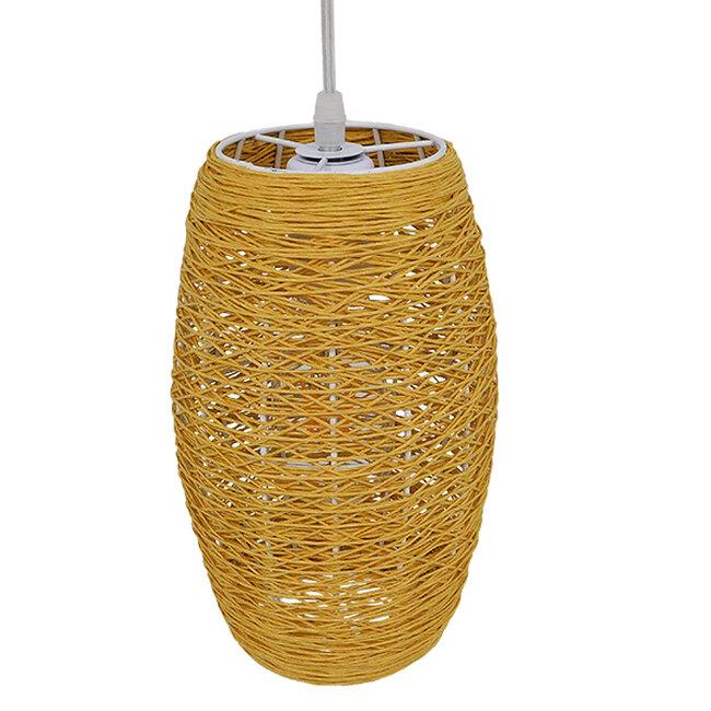 Vintage Κρεμαστό Φωτιστικό Οροφής Μονόφωτο Καφέ Ξύλινο Bamboo Φ15  SAO PAULO 01631 - 5