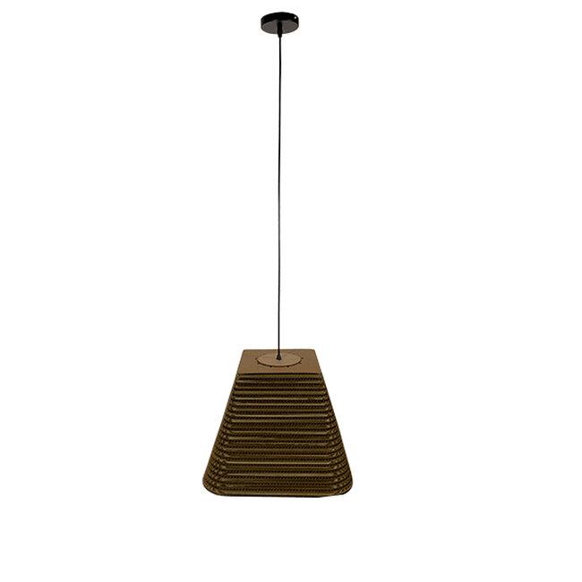 Vintage Κρεμαστό Φωτιστικό Οροφής Μονόφωτο 3D από Επεξεργασμένο Σκληρό Καφέ Χαρτόνι Καμπάνα Φ38  CORFU 01295 - 2
