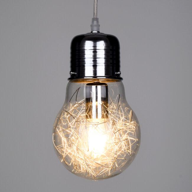 LAMP 01676 Μοντέρνο Κρεμαστό Φωτιστικό Οροφής Μονόφωτο Ασημί Νίκελ Μεταλλικό Διάφανο Γυαλί Φ15 x Υ27cm - 3