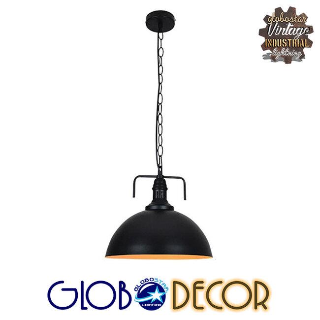 Vintage Κρεμαστό Φωτιστικό Οροφής Μονόφωτο Μαύρο Μεταλλικό Καμπάνα Φ31  LARKIN BLACK 01175 - 2
