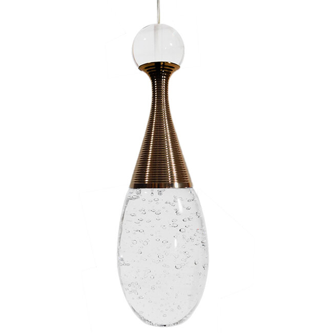 Μοντέρνο Κρεμαστό Φωτιστικό Οροφής Μονόφωτο LED Χάλκινο με Φυσητό Γυαλί  JADORE 01232 - 3