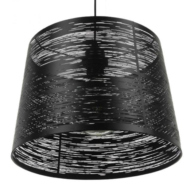 Μοντέρνο Industrial Κρεμαστό Φωτιστικό Οροφής Μονόφωτο Μεταλλικό Μαύρο Καμπάνα Φ35 GloboStar ATLANTIS 01556 - 6