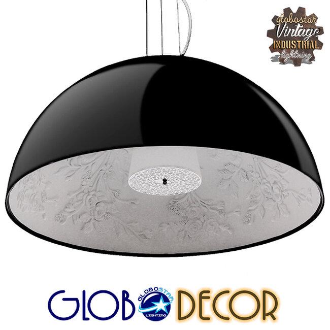 Μοντέρνο Κρεμαστό Φωτιστικό Οροφής Μονόφωτο Μαύρο Γύψινο Καμπάνα Φ90  SERENIA BLACK 01272 - 1