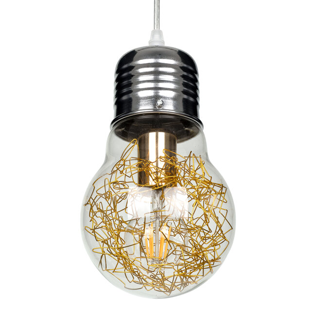 LAMP 00807 Μοντέρνο Κρεμαστό Φωτιστικό Οροφής Μονόφωτο Ασημί Νίκελ Βάση και Χρυσό Ντουί Μεταλλικό Διάφανο Γυαλί Φ15 x Υ27cm - 5