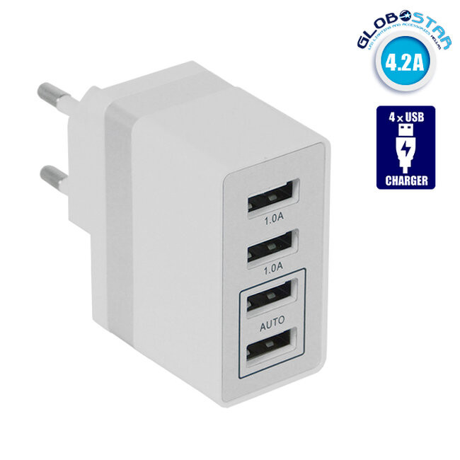 Φορτιστής USB 4 Θέσεων Wall Adapter 2 x AUTO 2.1A & 2 x 1A 5V DC Λευκός με Χρώμιο GloboStar 69997