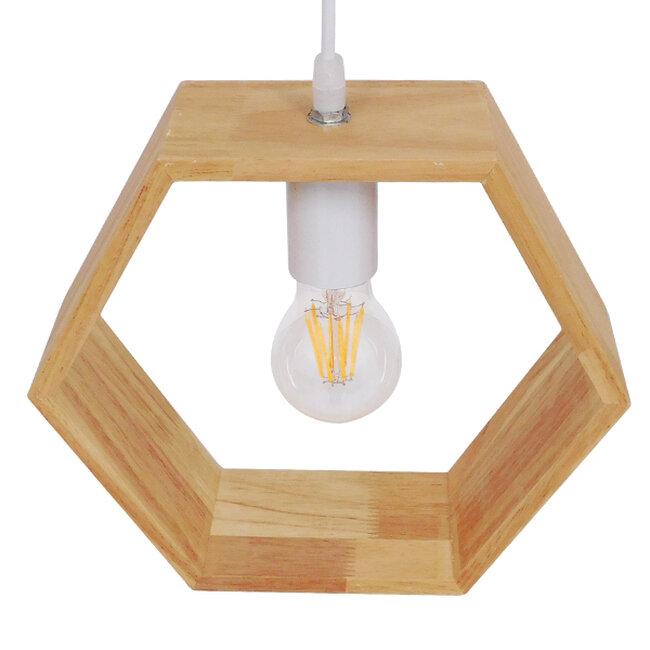 Μοντέρνο Κρεμαστό Φωτιστικό Οροφής Μονόφωτο Μπεζ Ξύλινο Δρυς  ELISE OCTANGLE 01429 - 4