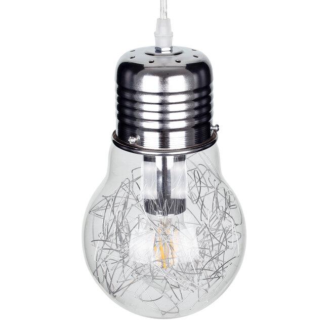 LAMP 01676 Μοντέρνο Κρεμαστό Φωτιστικό Οροφής Μονόφωτο Ασημί Νίκελ Μεταλλικό Διάφανο Γυαλί Φ15 x Υ27cm - 6