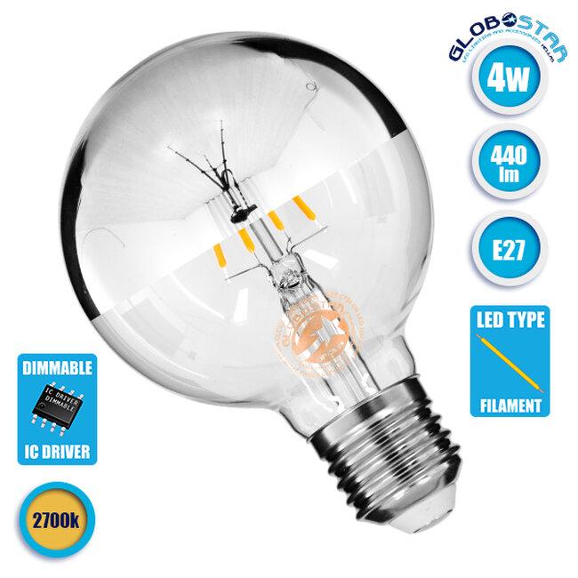 Λάμπα E27 G80 Γλόμπος με Ανεστραμμένο Χρώμιο Καθρέπτη LED FILAMENT 4W 440 lm 320° AC 85-265V Edison Retro με Διάφανο-Χρώμιο Γυαλί Θερμό Λευκό 2700 K Dimmable GloboStar 99104