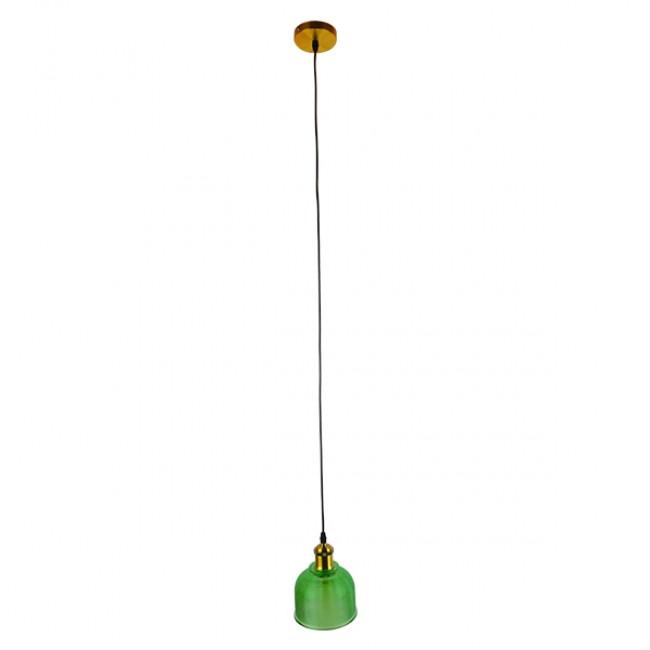 Vintage Κρεμαστό Φωτιστικό Οροφής Μονόφωτο Πράσινο Γυάλινο Διάφανο Καμπάνα με Χρυσό Ντουί Φ14 GloboStar SEGRETO GREEN 01451 - 2