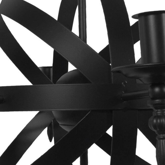 Vintage Industrial Κρεμαστό Φωτιστικό Οροφής Πολύφωτο Μαύρο Μεταλλικό Πολυέλαιος Φ65  ESTELLE 01003 - 6