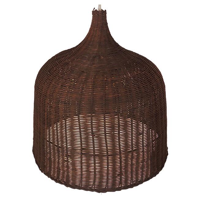 Vintage Κρεμαστό Φωτιστικό Οροφής Μονόφωτο Καφέ Ξύλινο Ψάθινο Rattan Φ60  ARGENTO 01369 - 3