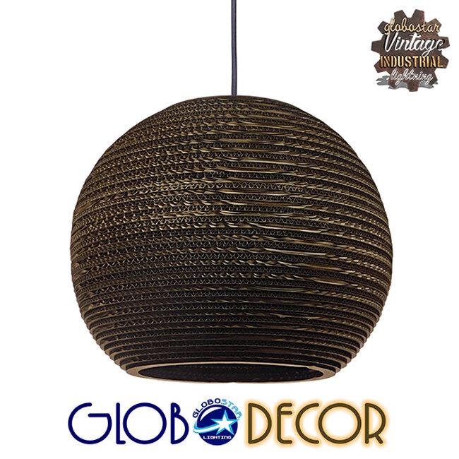 Vintage Κρεμαστό Φωτιστικό Οροφής Μονόφωτο 3D από Επεξεργασμένο Σκληρό Καφέ Χαρτόνι Καμπάνα Φ40 GloboStar CRETE 01289 - 1
