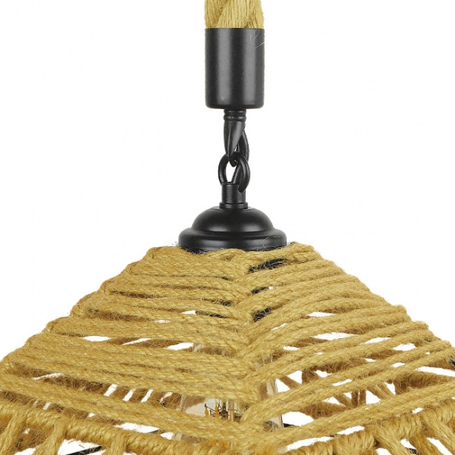 Vintage Κρεμαστό Φωτιστικό Οροφής Μονόφωτο Πλέγμα με Μπεζ Σχοινί Φ43 GloboStar SPIKY 01613 - 8