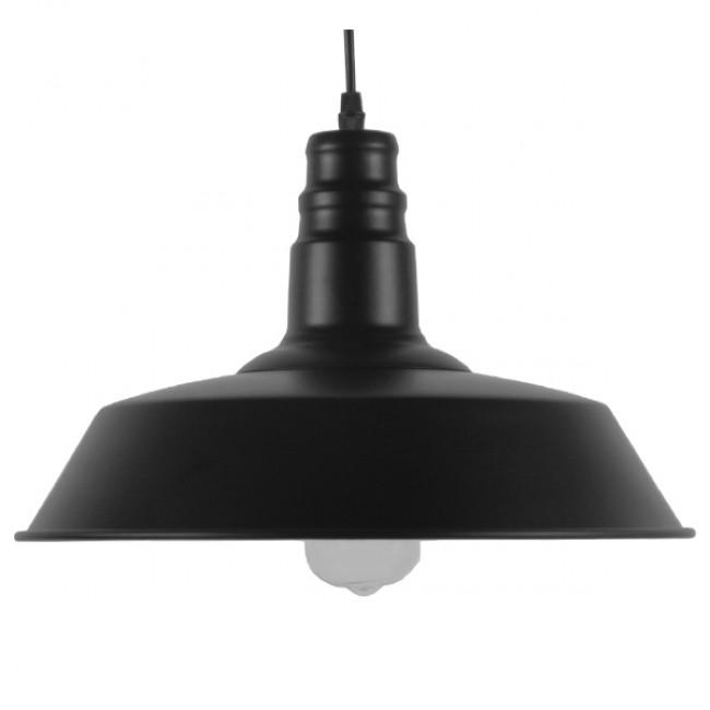Vintage Industrial Κρεμαστό Φωτιστικό Οροφής Μονόφωτο Μαύρο Μεταλλικό Καμπάνα Φ36 GloboStar RAY BLACK 01049 - 3