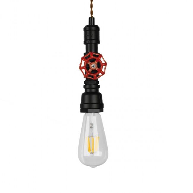 Vintage Industrial Κρεμαστό Φωτιστικό Οροφής Μονόφωτο Μαύρο Μεταλλικό GloboStar SPOUT 01415 - 4