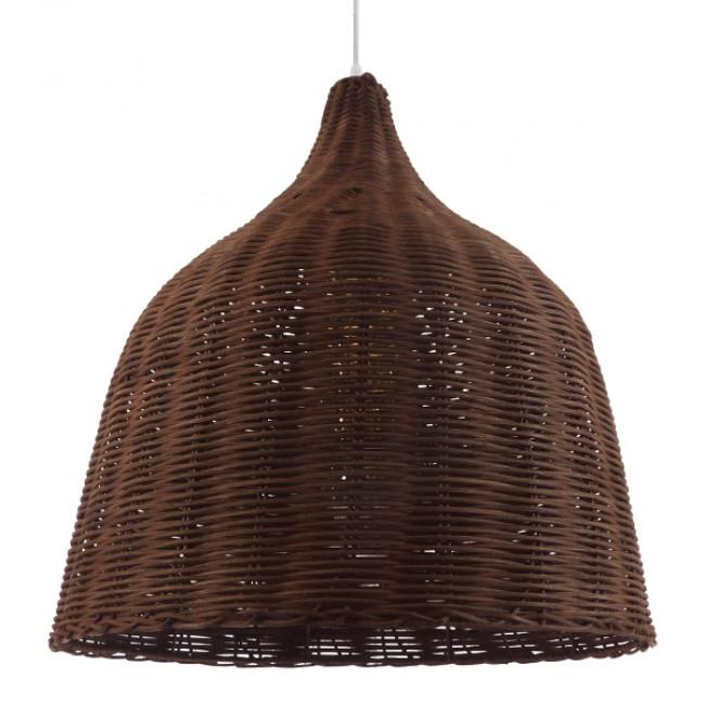 Vintage Κρεμαστό Φωτιστικό Οροφής Μονόφωτο Καφέ Σκούρο Ξύλινο Ψάθινο Rattan Φ45 GloboStar WABI 01368 - 1