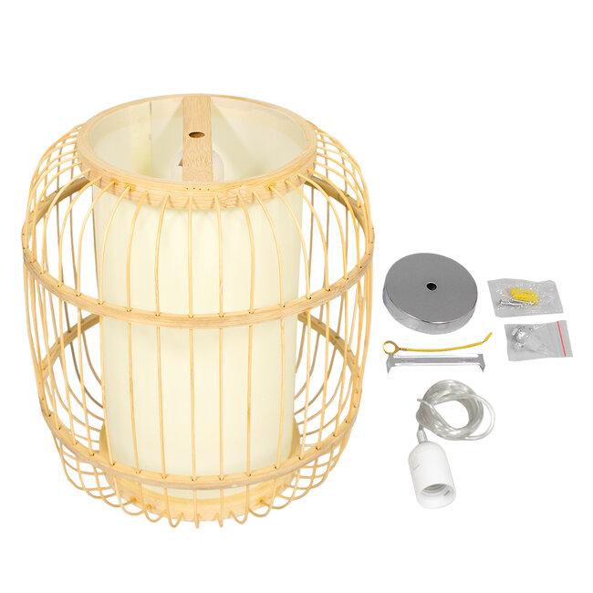 GloboStar® DE PARIS 01633 Vintage Κρεμαστό Φωτιστικό Οροφής Μονόφωτο Μπεζ Ξύλινο Bamboo Φ26 x Y32cm - 7