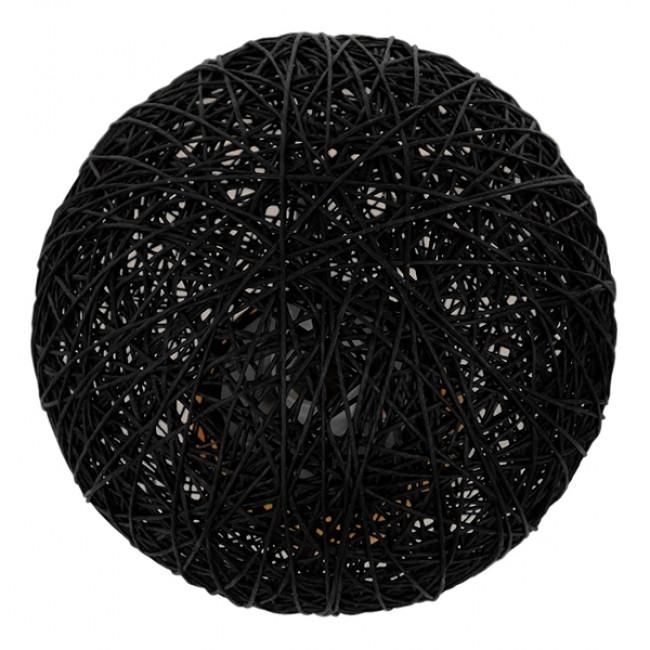 Μοντέρνο Επιτραπέζιο Φωτιστικό Πορτατίφ Μονόφωτο Μαύρο Ξύλινο Ψάθινο Rattan Φ20 GloboStar INDUS 01338 - 4