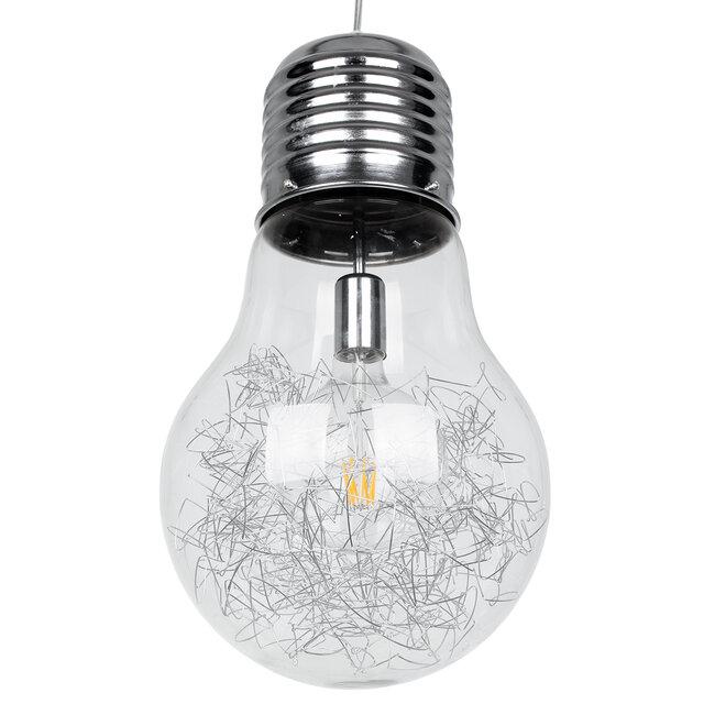 LAMP 01677 Μοντέρνο Κρεμαστό Φωτιστικό Οροφής Μονόφωτο Ασημί Νίκελ Μεταλλικό Διάφανο Γυαλί Φ30 x Υ52cm - 5